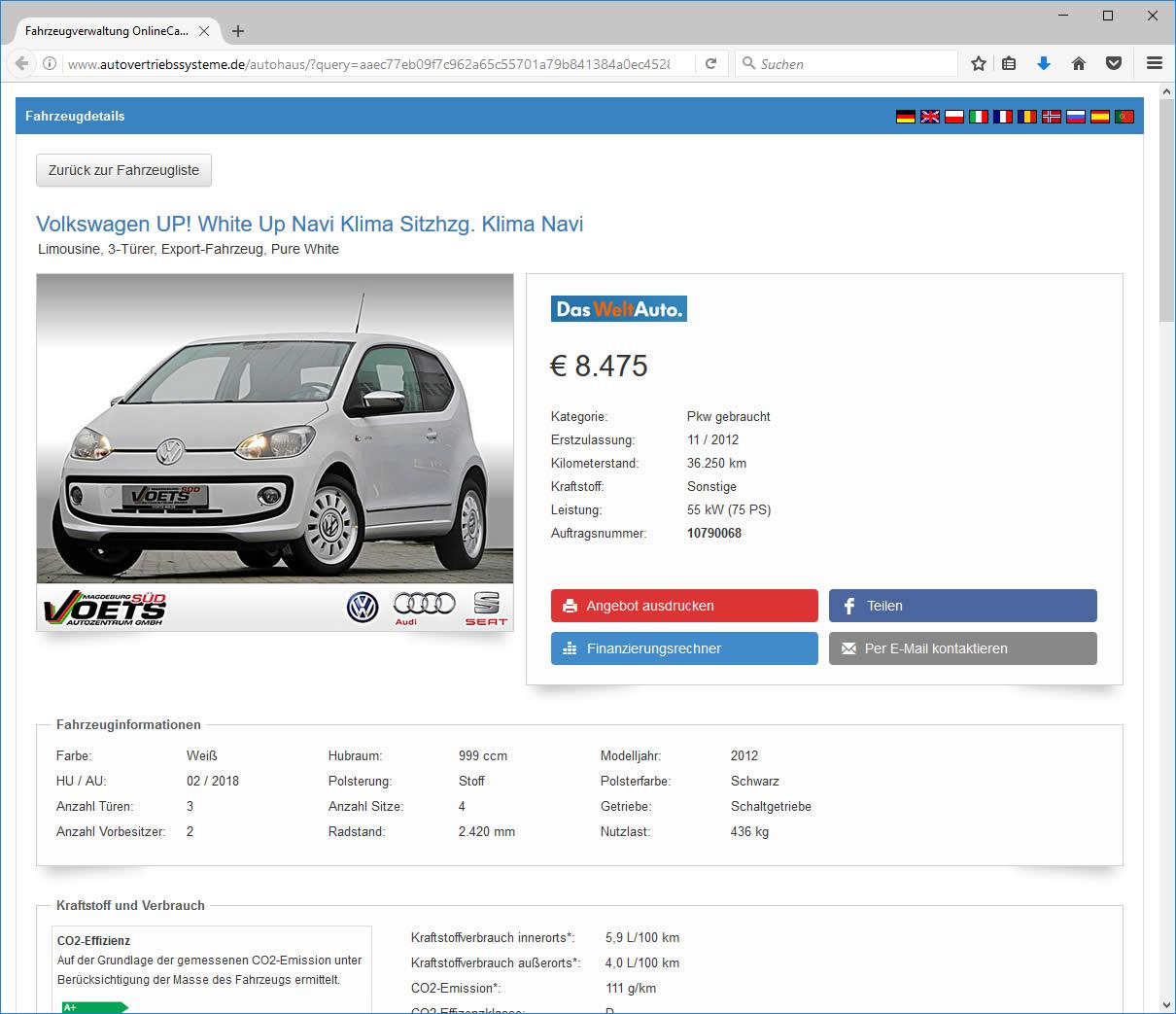 Fahrzeugmarkt Fahrzeug Detailansicht
